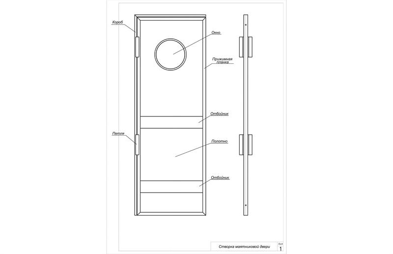 Сборка створки маятниковых дверей с окном без размеров
